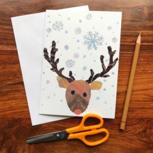 Xmas Reindeer Chigiri-e Card