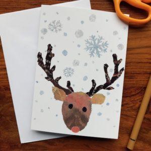 Xmas Reindeer Chigiri-e Card (S)