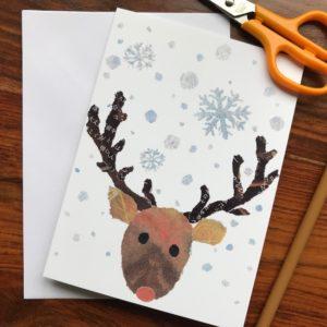 Xmas Reindeer Chigiri-e Card (M)