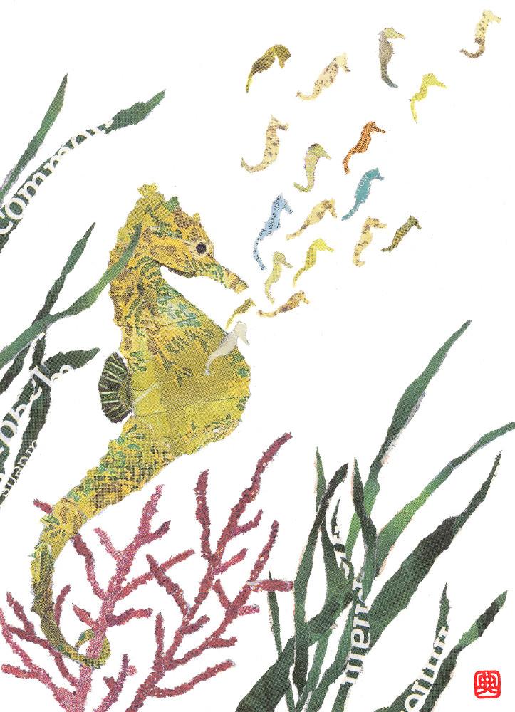 Seahorses, chigiri-e art, newspaper collage by Japanese artist Noriko Matsubara, 2011.