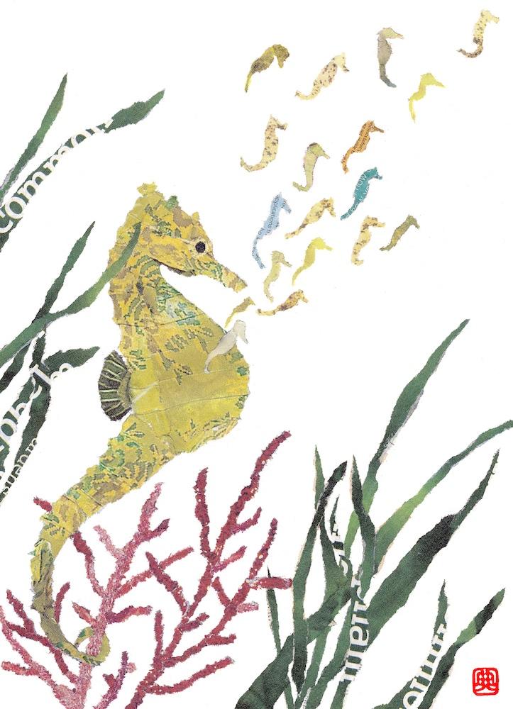 Chigiri-e Japanese Paper Collage Seahorses
