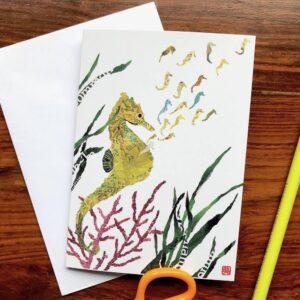 Seahorses Chigiri-e Card