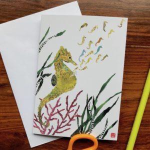 Seahorses Chigiri-e Card (S)
