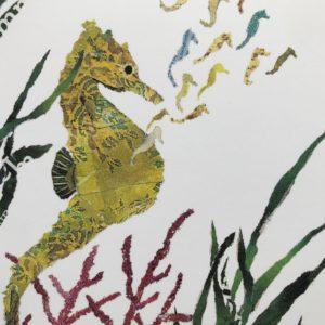 Seahorses Chigiri-e Card (M)