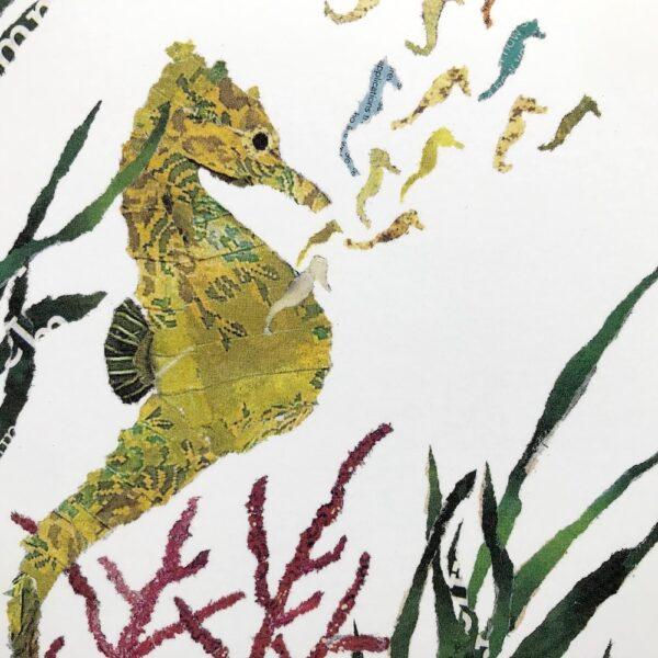Seahorses Chigiri-e greeting card by Japanese artist Noriko Matsubara