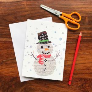 Xmas Snowman Chigiri-e Card (M)