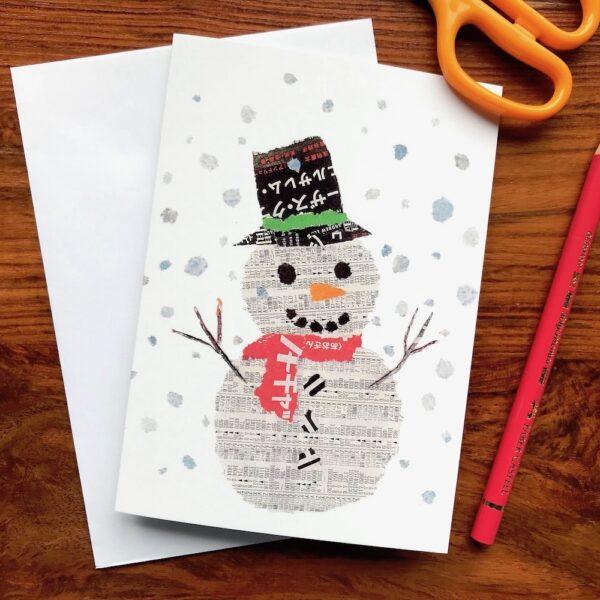 Snowman Chigiri-e Christmas card by Japanese artist Noriko Matsubara