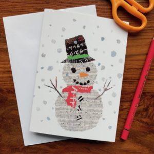 Xmas Snowman Chigiri-e Card (S)