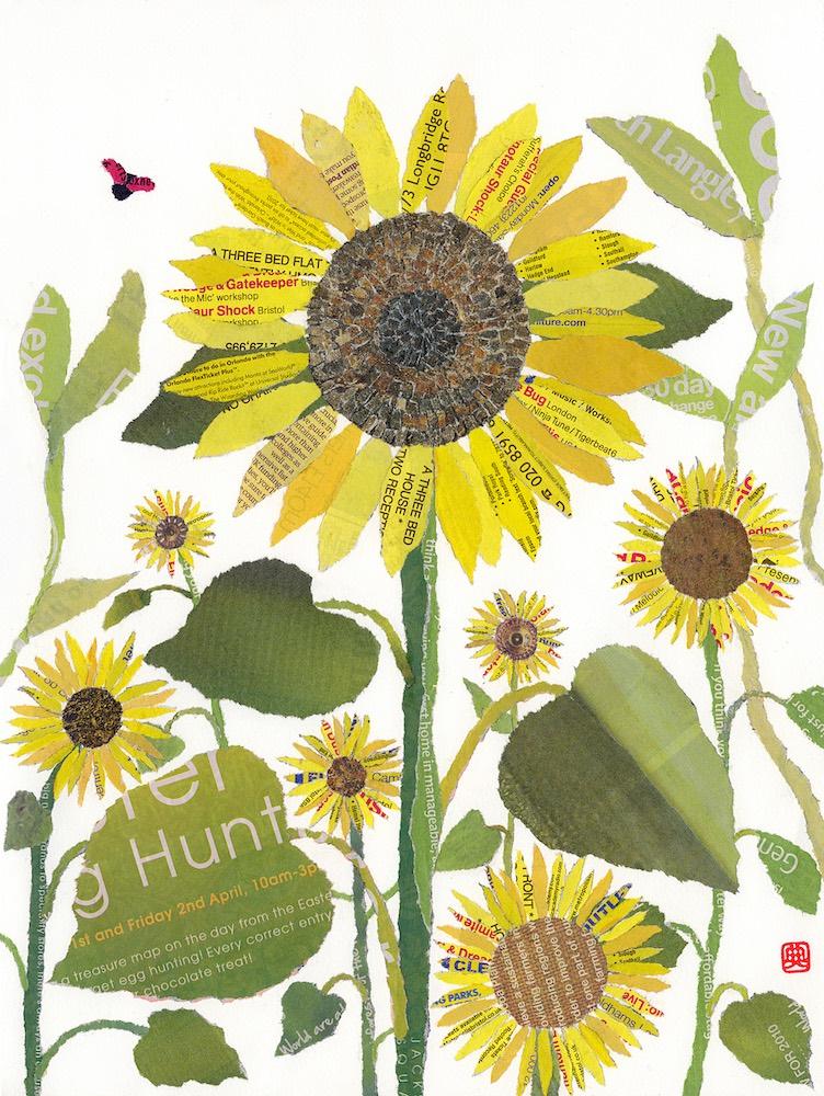 Chigiri-e Japanese Paper Collage Sunflowers