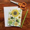 Sunflowers Chigiri-e greeting card by Japanese artist Noriko Matsubara