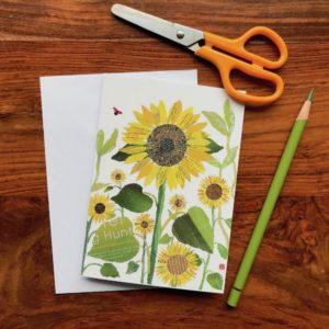 Sunflowers Chigiri-e Card (S)