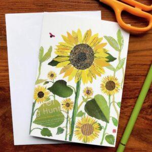 Sunflowers Chigiri-e Card
