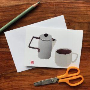 Teapot and Cup Chigiri-e Card (S)