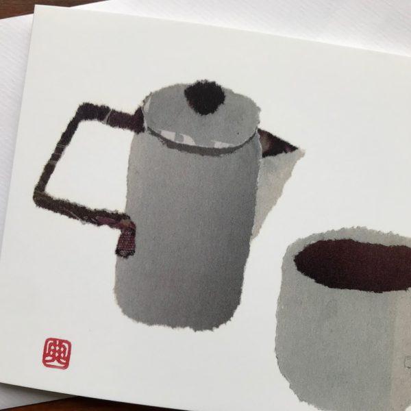 Teapot and Cup Chigiri-e greeting card by Japanese artist Noriko Matsubara