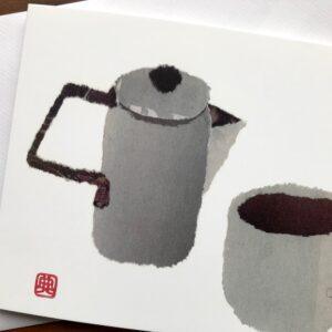 Teapot and Cup Chigiri-e Card