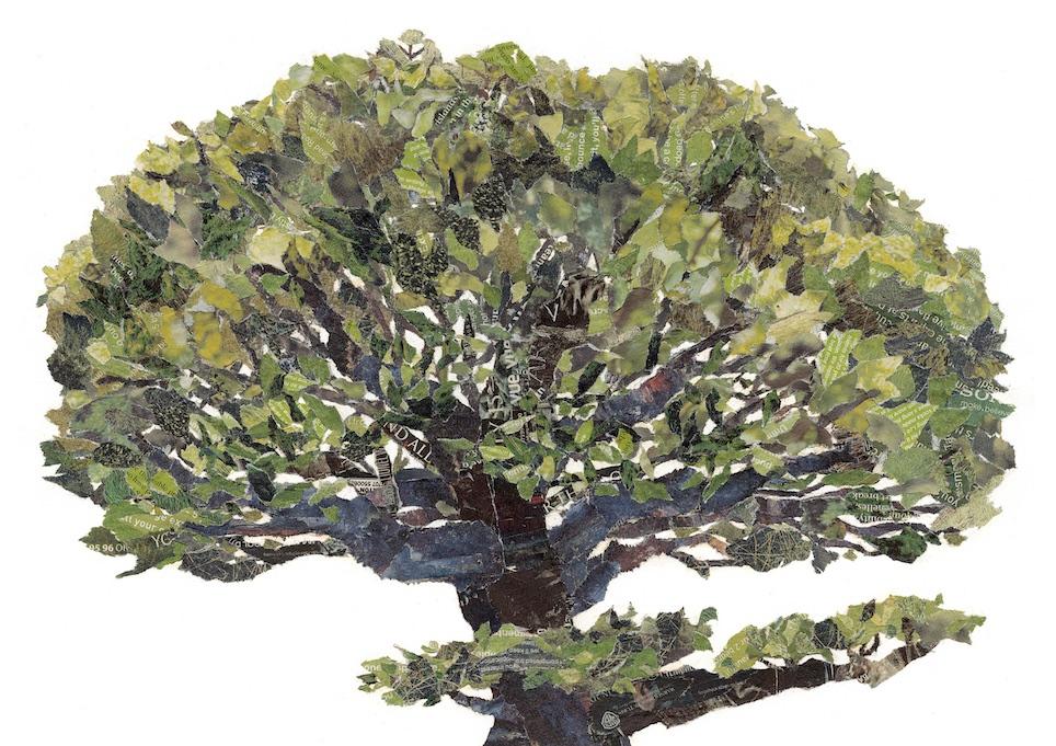 Chigiri-e Japanese Paper Collage Tree