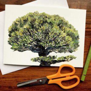 Tree Chigiri-e Card