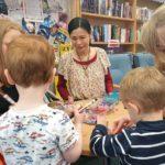 Children's book author and illustrator Noriko Matsubara's author visit at Whickham Volunteer Library Association, Whickham, Newcastle upon Tyne, UK.