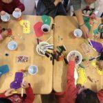 Noriko Matsubara's Christmas stocking workshop at a toddlers' group.