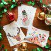 Christmas Chigiri-e greeting cards set (medium)