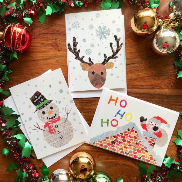 Christmas Chigiri-e greeting cards set (small) by Noriko Matsubara