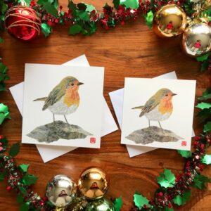 Xmas Chigiri-e Robin Cards Set