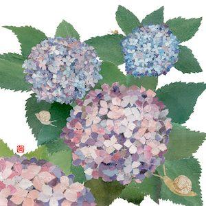 Hydrangeas and Snails Chigiri-e Japanese paper collage by Japanese artist Noriko Matsubara