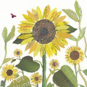 Sunflowers Chigiri-e Art by Japanese artist Noriko Matsubara