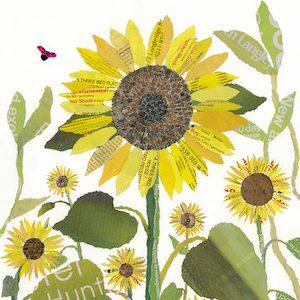 Sunflowers Chigiri-e Japanese paper collage by Japanese artist Noriko Matsubara