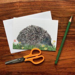 Hedgehog Chigiri-e Card (S)