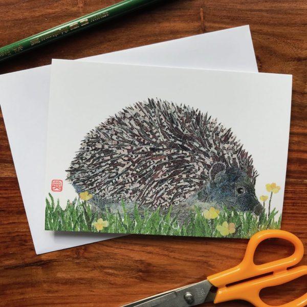 Hedgehog Chigiri-e greeting card by Japanese artist Noriko Matsubara